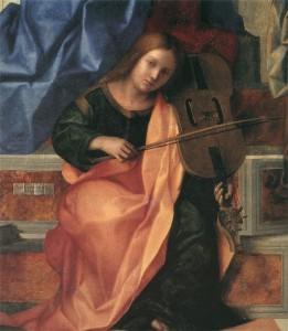 Джованни Беллини Скрипка. Деталь алтаря церкви Св. Захария, Венеция